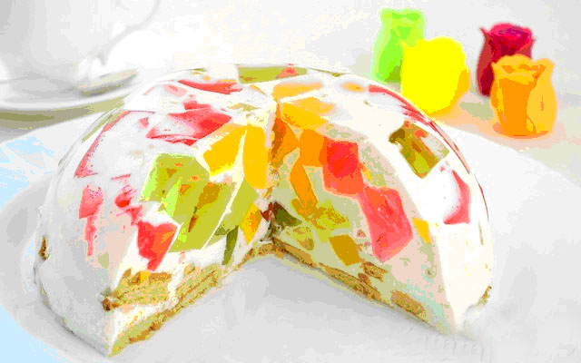 Желейный торт со сметаной и фруктами рецепт