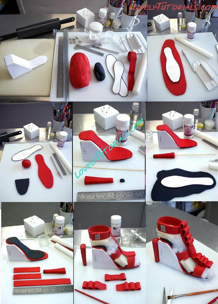Как сделать из мастики женскую туфельку