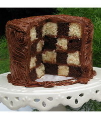 photo  how to make a checkerboard cake