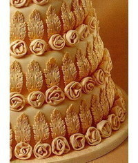 photo  the decoration of rosettes and leaves the sides of the cake