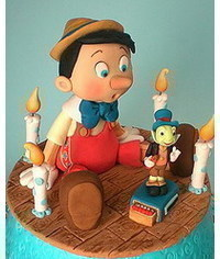 photo  gumpaste (fondant) Pinocchio, Jiminy Cricket figure making tutorials