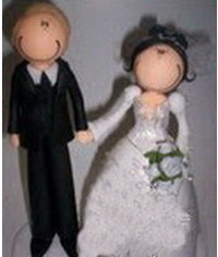 photo  Gumpaste (fondant, polymer clay) Groom and Bride figure making tutorial
