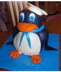 photo Carved 3D penguin cake how to