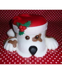 photo Dog with Santa's cap cake tutorial