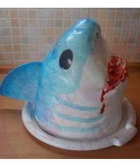 photo  Carved 3D shark cake tutorial