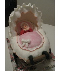 photo 3D baby buggy cake tutorial
