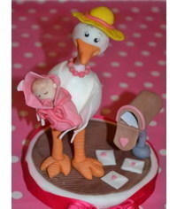 photo  how to make gumpaste Stork with baby