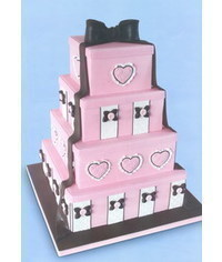 photo  4 tier gift box cake decorated with Hearts & Bow