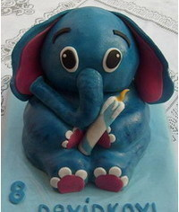 photo  3D carved elephant cake tutorial