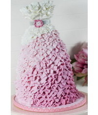 photo  How to make a Pink Ombre Ruffle Dress Cake