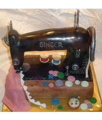 photo Sewing machine cake step by step