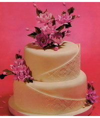 photo  Wedding cake with pink flowers