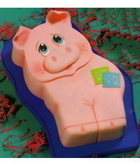 photo  2D Carved Pig cake step by step