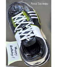 photo  Carved Sneaker Running Shoe Cake tutorial