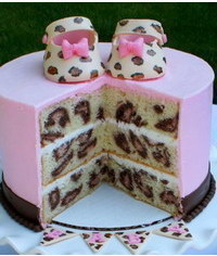 photo Leopard pattern inside cake tutorial