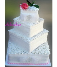 photo  4 Tier Square Cake with ruffles