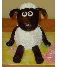 photo  Carved 3D Shaun the Sheep character cake making tutorial