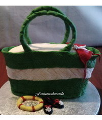 photo 3D Straw Beach Bag cake tutorial