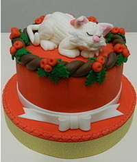 photo  Christmas cake with sleeping cat tutorial