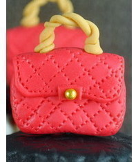 photo  How to Make a Designer Red Purse Fondant Cupcake Topper
