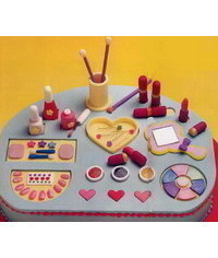 photo  Gumpaste (fondant, polymer clay) Shadow, lipstick, makeup, mirrow, manicure, etc making tutorials