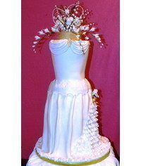 photo  3D Wedding dress cake tutorial