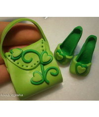 photo  Plastic (fondant,sugar) shoes and bag DIY)