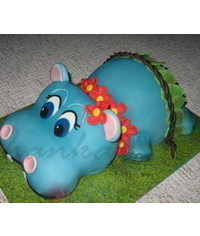 photo Carved Hippo cake tutorial