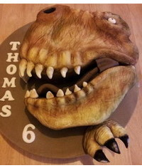 photo  Carved Tyrannosaurus head cake tutorial