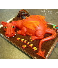 photo Carved 3D Dragon cake tutorial