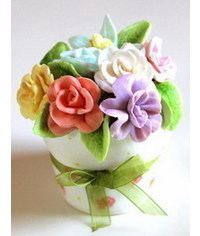 photo  Flower pot with flowers cupcake DIY