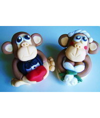 photo  Monkey wedding couple cake topper DIY