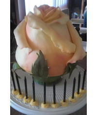 photo Carved 3D rose cake tutorial