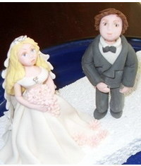 photo  Gumpaste (cold porcelain) Bride and Groom figurines step by step