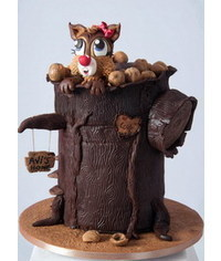 photo Squirrel On A Stump With nuts cake tutorial