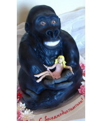 photo Carved 3D gorilla cake how to