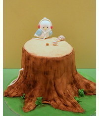 photo Bird on a Tree Stump cake tutorial