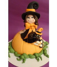 photo  witch with a cat on pumpkin tutirial