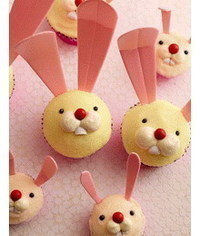photo Easter piped bunny face cupcake how to