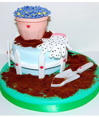 photo Cake for Gardener step by step