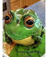 photo  Carved 3D frog cake how to