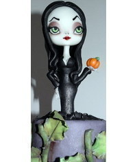 photo  The Addams Family Morticia Addams cake topper tutorial