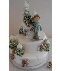 photo  Skier figurine cake topper tutorial