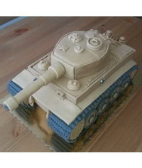 photo  3D carved tank cake tutorial