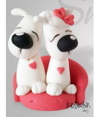 photo  Dog couple for wedding cake