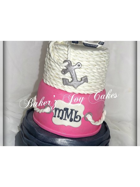 Madison is turning 16 and loves the anchor/nautical theme. Bottom tier is yellow cake, middle tier is vanilla bean with pink zebra print inside, top tier is rice krispie treats. ALL edible, covered in edible glitter. Hand painted anchor. Fun cake!! Fed 50 people