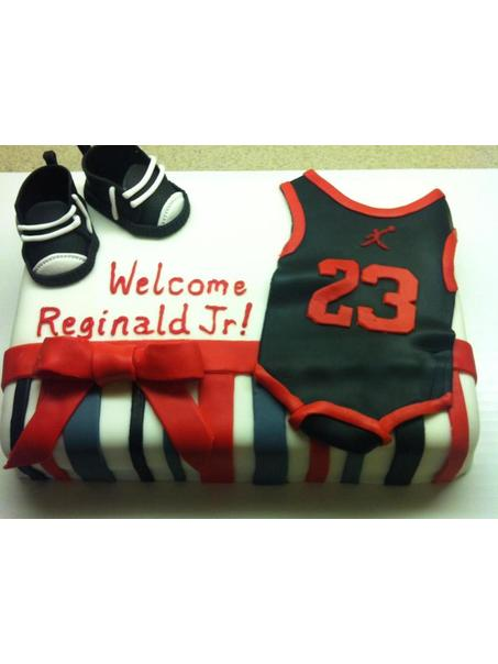 Michael Jordan themed baby shower cake