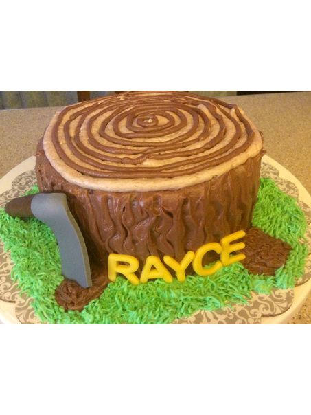 "6"" chocolate cake with chocolate buttercream frosting. The axe and lettering are fondant"