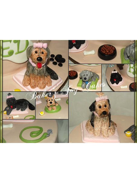 Dummy cake with all hand made edible dogs and accessories. Each Dog is hand made and then painted.