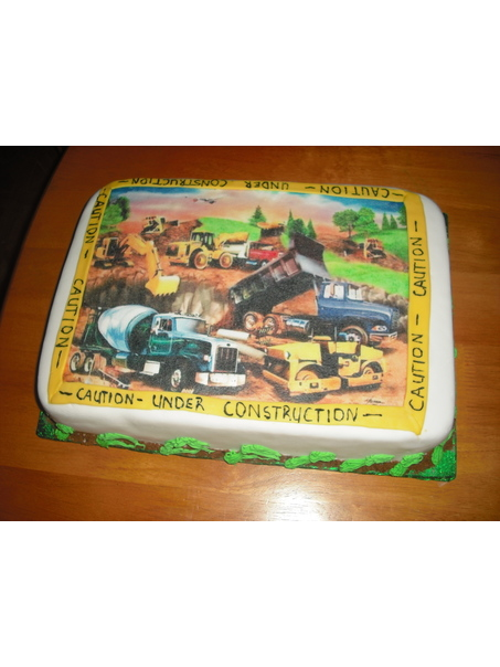 This cake was made for a little boy who wanted a 'Construction Site Cake'. Had to improvise as the cake construction kit did not arrive to me on time.